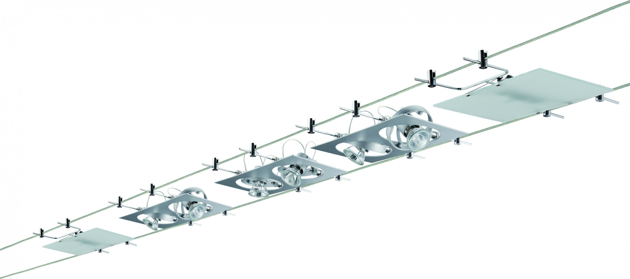 paulmann seil komplett set wire system outline 5x 2x20 w gu4 g4 chrom matt 230 12v 210va. Black Bedroom Furniture Sets. Home Design Ideas