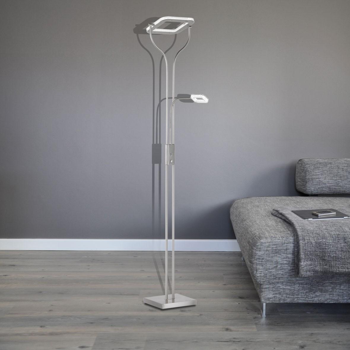 led wofi standfluter dimmbar 2 flammig jay 18w 3000k 1600lm leuchten stehleuchten. Black Bedroom Furniture Sets. Home Design Ideas